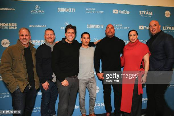 Chris Brearton of MGM producer Kevin Misher Jonathan Glickman of MGM Adam Rosenberg of MGM actor and producer Dwayne Johnson producer Dany Garcia and...