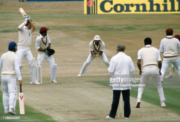 Chris Broad of England is caught for 32 runs by Clive Lloyd of England off the bowling of Roger Harper during the 3rd Test match between England and...
