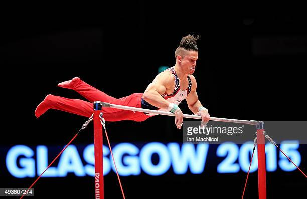 Chris Brooks of the United States goes through his routine on the High Bar during the 2015 World Artistic Gymnastics Championships Training Session...