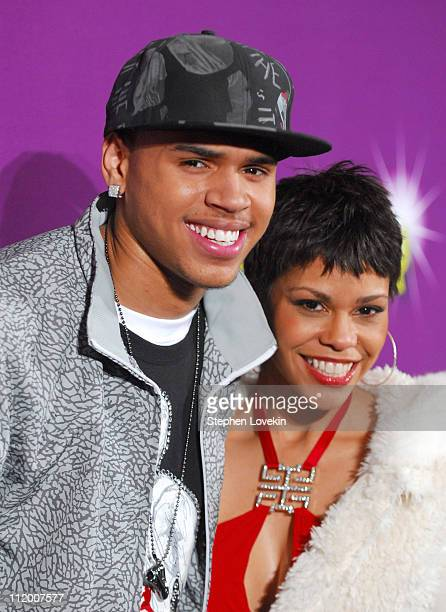 Chris Brown and April Woodard during BET's Rip the Runway 2007 Arrivals at Hammerstein Ballroom in New York City New York United States