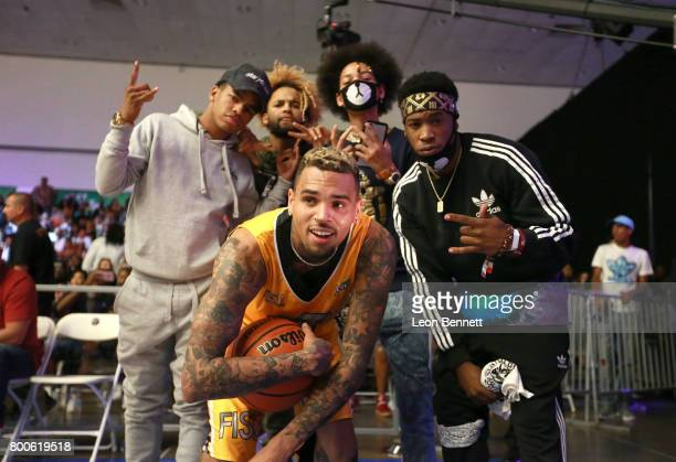 Chris Brown and Ayo Teo at the Celebrity Basketball Game presented by Sprite and State Farm during the 2017 BET Experience at Los Angeles Convention...