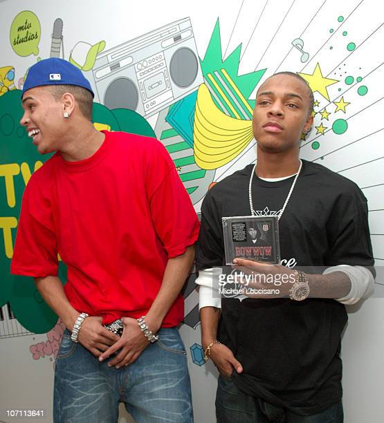 Chris Brown and Bow Wow during Beyonce Chris Brown Bow Wow and Fall Out Boy Visit MTV's TRL December 19 2006 at MTV Studios Times Square in New York...