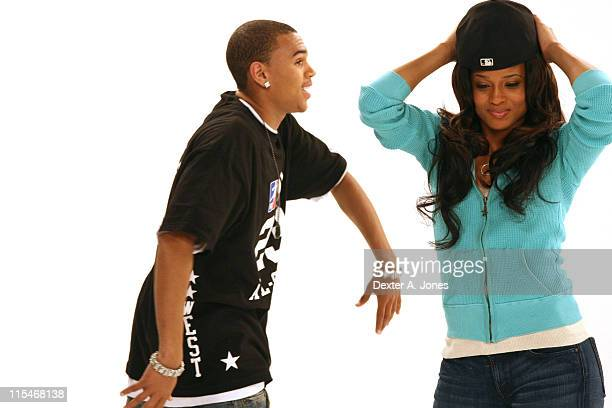 Chris Brown and Ciara during BET's Rip the Runway 2007 Promo Shoot March 5 2007 at City Stage in New York City New York United States