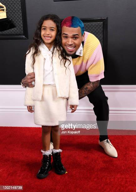 Chris Brown and daughter Royalty Brown attend the 62nd Annual GRAMMY Awards at Staples Center on January 26, 2020 in Los Angeles, California.