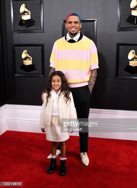 Chris Brown and daughter Royalty Brown attend the 62nd Annual GRAMMY Awards at Staples Center on January 26 2020 in Los Angeles California