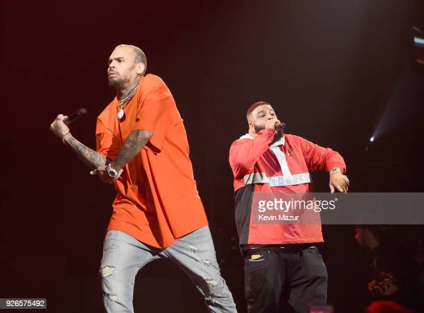 Chris Brown and DJ Khaled perform during Demi Lovato 'Tell Me You Love Me' World Tour at The Forum on March 2 2018 in Inglewood California