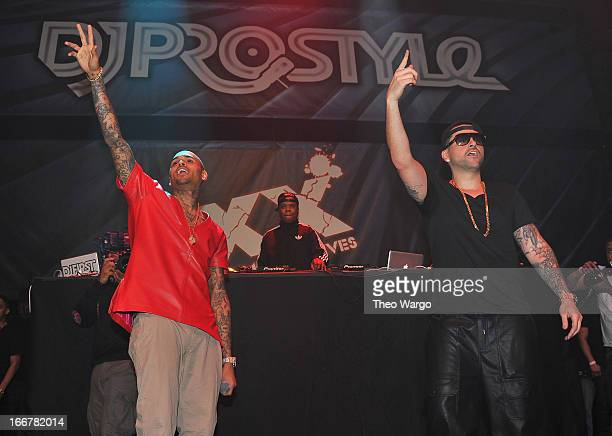 Chris Brown and DJ Prostyle during DJ ProStyle's birthday bash at Hammerstein Ballroom on April 16 2013 in New York City