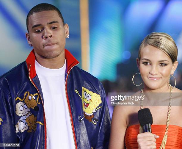 Chris Brown and Jamie Lynn Spears presenters during Nickelodeon's 20th Annual Kids' Choice Awards Show at Pauley Pavilion in Westwood California...