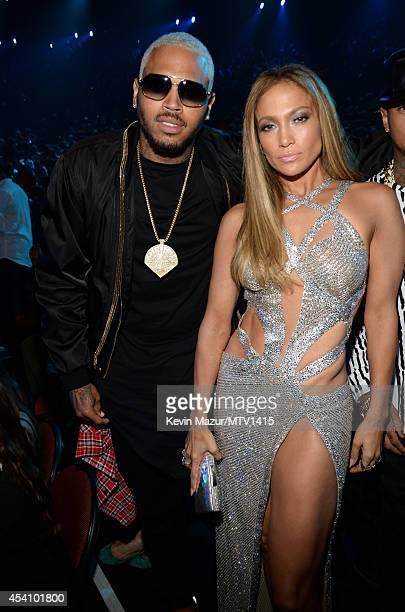 Chris Brown and Jennifer Lopez attend the 2014 MTV Video Music Awards at The Forum on August 24 2014 in Inglewood California