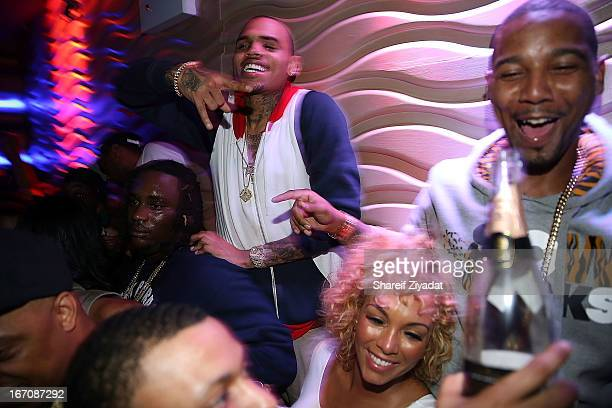 Chris Brown and Juelz Santana attend the 2nd Annual DJ Prostyle's Birthday Bash after party at Stage 48 on April 16 2013 in New York City