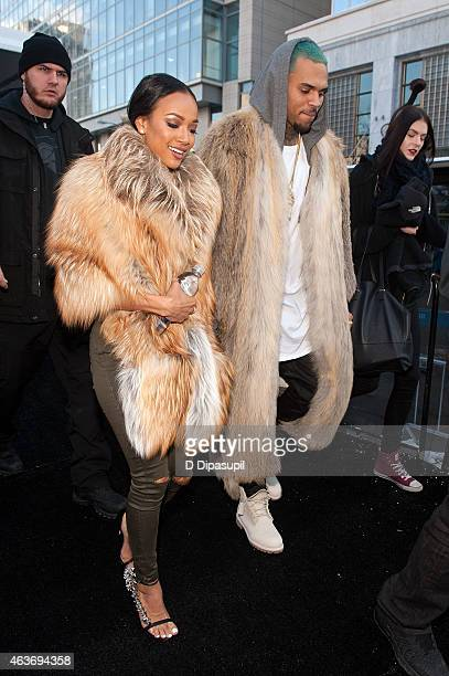Chris Brown and Karrueche Tran are seen during Mercedes-Benz Fashion Week Fall 2015 at Lincoln Center for the Performing Arts on February 17, 2015 in...