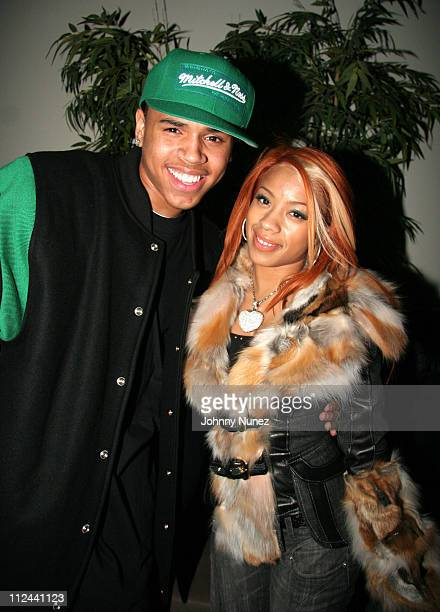 Chris Brown and Keyshia Cole during Hennessy Presents Kanye West Platinum Party November 2 2005 at TBD in New York City New York United States