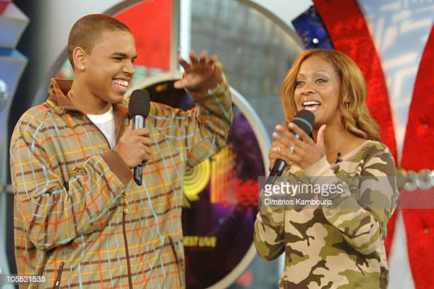 Chris Brown and LaLa during Twista and Chris Brown Visit MTV's TRL October 4 2005 at MTV Studios Times Square in New York City New York United States