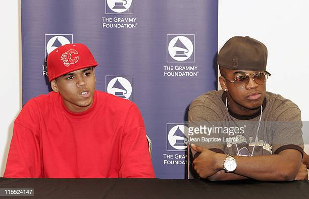 Chris Brown and NeYo during Grammy Soundchecks With Chris Brown's Up Close Personal Tour at American Airlines Arena in Miami Florida United States