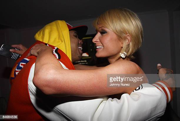 Chris Brown and Paris Hilton attend Timbaland Grammy Party Presented by Verizon Blackberry on February 6 2009 in Los Angeles California