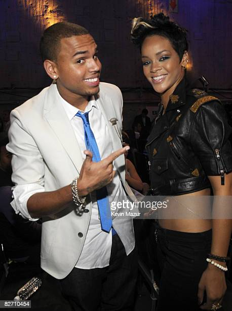 Chris Brown and Rihanna backstage at the 2008 MTV Video Music Awards at Paramount Pictures Studios on September 7 2008 in Los Angeles California