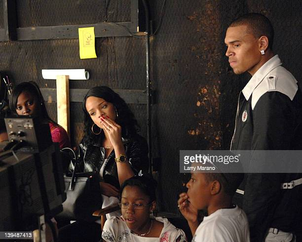 Chris Brown and Rihanna on the set of Lil Mama video shoot Shawty Get Loose on December 28 2007 in Miami Florida
