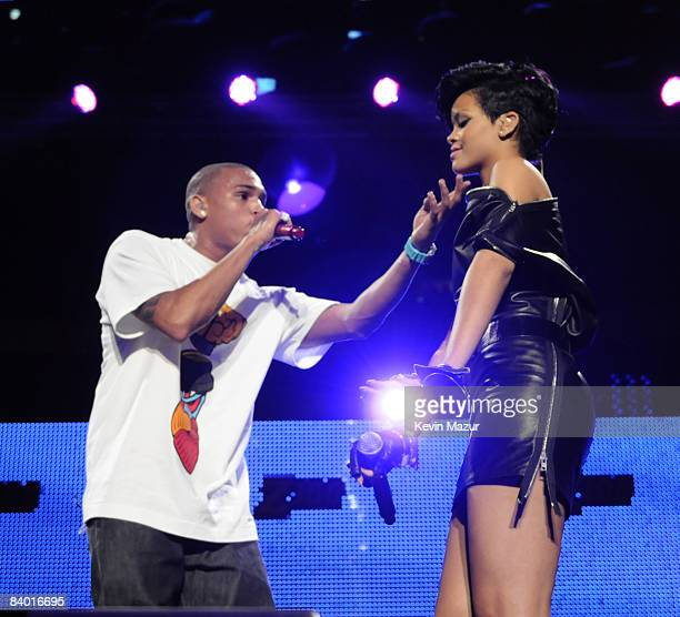 Chris Brown and Rihanna perform on stage during Z100's Jingle Ball 2008 Presented by HM at Madison Square Garden on December 12 2008 in New York City