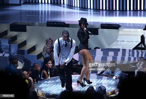 Chris Brown and Rihanna performs during the 2007 MTV Video Music Awards at The Palms Hotel and Casino on September 9 2007 in Las Vegas Nevada