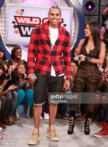 Chris Brown and Rocsi on the set of BET's 106 Park at BET Studios on August 24 2010 in New York City