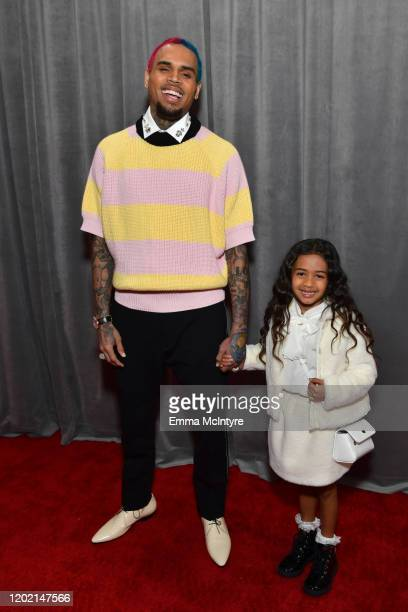 Chris Brown and Royalty Brown attends the 62nd Annual GRAMMY Awards at STAPLES Center on January 26 2020 in Los Angeles California