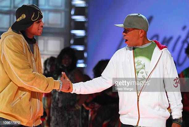 Chris Brown and Russell Simmons during BET's Rip the Runway 2007 Show at Hammerstein Ballroom in New York City New York United States