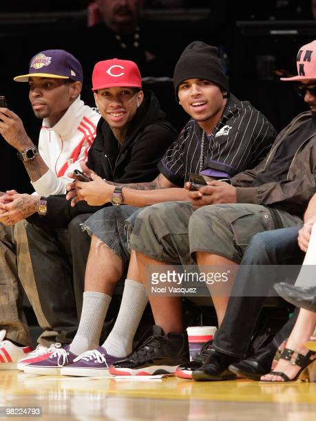 Chris Brown and Tyga attend a game between the Utah Jazz and the Los Angeles Lakers at Staples Center on April 2 2010 in Los Angeles California