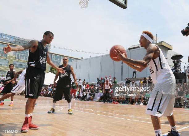 Chris Brown and Tyga attend BET Experience Celebrity Basketball Exhibition at Sprite Court on June 29 2013 in Los Angeles California