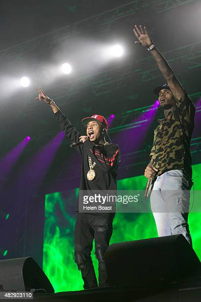 Chris Brown and Tyga attend Vestival at Malieveld on August 1 2015 in The Hague Netherlands