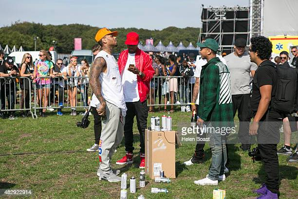 Chris Brown and Tyga backstage at Vestival at Malieveld on August 1 2015 in The Hague Netherlands