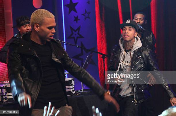 Chris Brown and Tyga perform at BET's '106 Park' on March 21 2011 in New York City