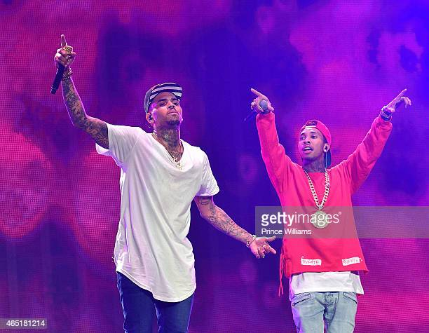 Chris Brown and Tyga perform at Phillips Arena on March 2 2015 in Atlanta Georgia