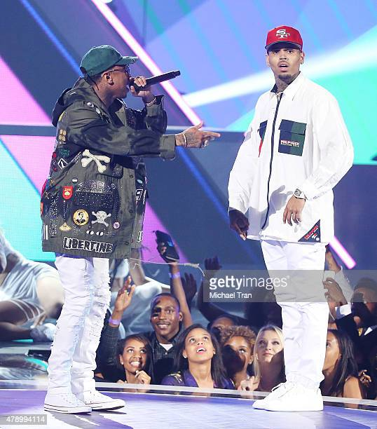 Chris Brown and Tyga perform onstage during the 2015 BET Awards held at Microsoft Theater on June 28 2015 in Los Angeles California