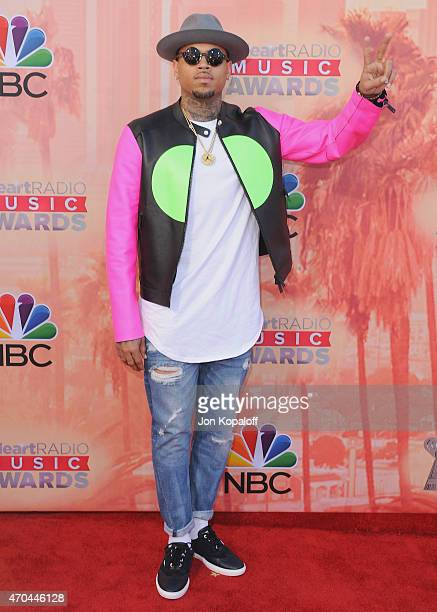 Chris Brown arrives at the 2015 iHeartRadio Music Awards at The Shrine Auditorium on March 29 2015 in Los Angeles California