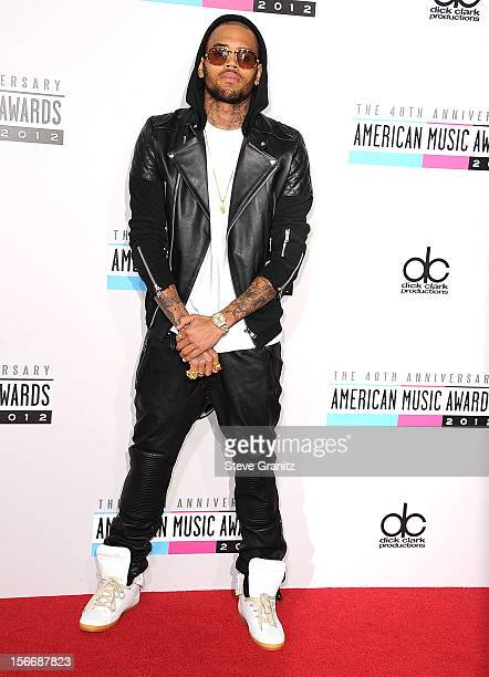 Chris Brown arrives at the 40th Anniversary American Music Awards at Nokia Theatre LA Live on November 18 2012 in Los Angeles California