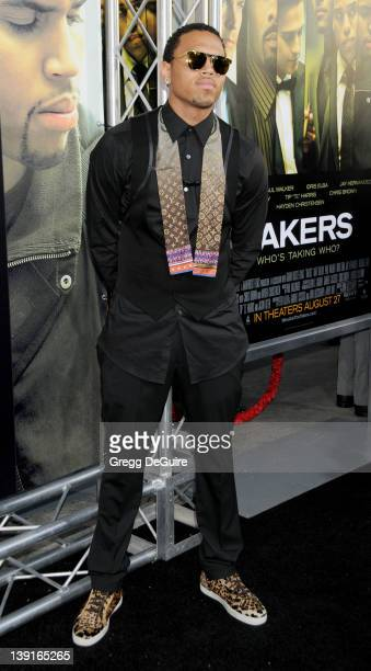 Chris Brown arrives at the World Premiere of Takers at the ArcLight Cinerama Dome on August 4 2010 in Hollywood California