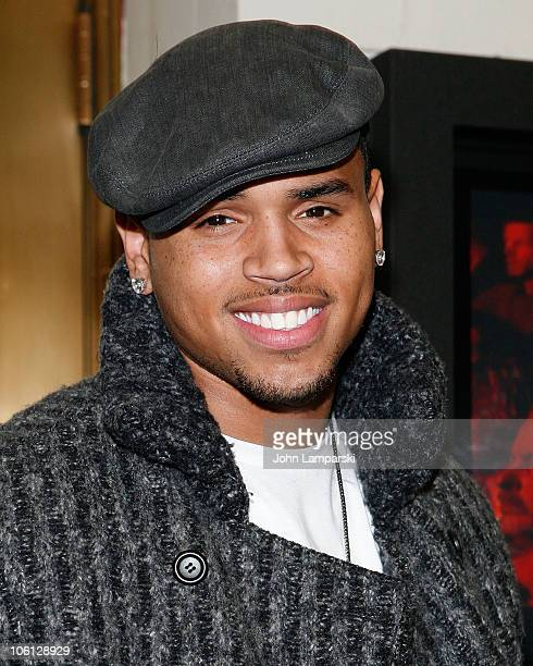 "Chris Brown attends the curtain call on the opening night of ""Rain - A Tribute To The Beatles"" at Neil Simon Theatre on October 26, 2010 in New York..."