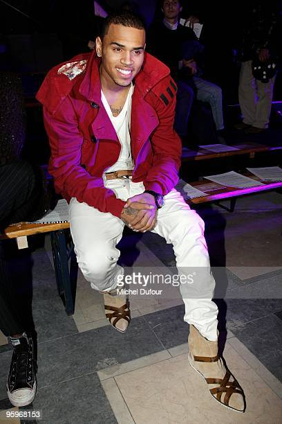 Chris Brown attends the John Galliano fashion show during Paris Menswear Fashion Week Autumn/Winter 2010 on January 22 2010 in Paris France