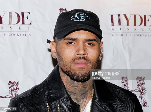 Chris Brown attends 'The Lost Warhols' Collection exhibit at HYDE Sunset Kitchen Cocktails on November 4 2015 in West Hollywood California