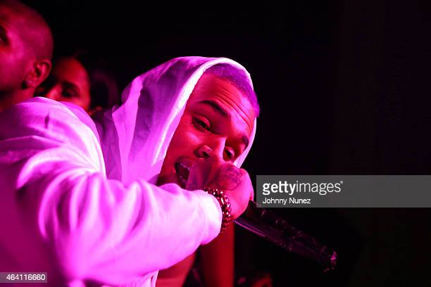 Chris Brown attends the Trey Songz party at Liberty Theater on February 21 in New York City