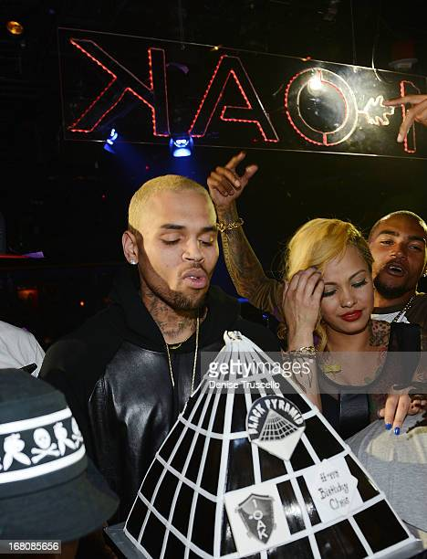 Chris Brown celebrates his birthday at 1 OAK Nightclub at The Mirage Hotel Casino on May 4 2013 in Las Vegas Nevada