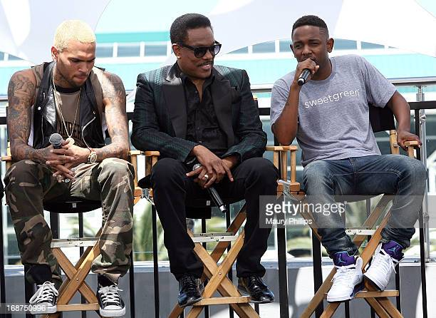 Chris Brown Charlie Wilson and Kendrick Lamar attend the BET Awards 2013 Press Conference at Icon Ultra Lounge on May 14 2013 in Los Angeles...