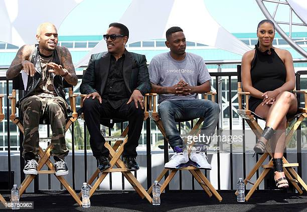 Chris Brown Charlie Wilson Kendrick Lamar and Tamar Braxton attend the BET Awards 2013 Press Conference at Icon Ultra Lounge on May 14 2013 in Los...