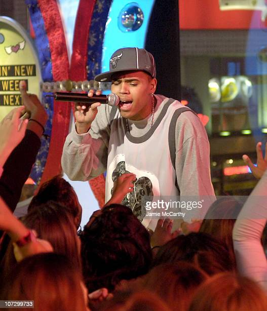 Chris Brown during MTV's TRL Spankin' New Music Week Simple Plan Chris Brown The Veronicas and OAR November 8 2005 at MTV Studios Times Square in New...