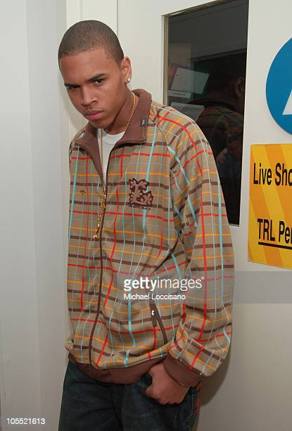 Chris Brown during Twista and Chris Brown Visit MTV's TRL October 4 2005 at MTV Studios Times Square in New York City New York United States