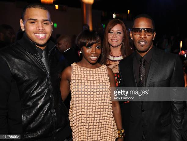 *EXCLUSIVE* Chris Brown Estelle and Jamie Foxx attend the 2009 GRAMMY Salute To Industry Icons honoring Clive Davis at the Beverly Hilton Hotel on...