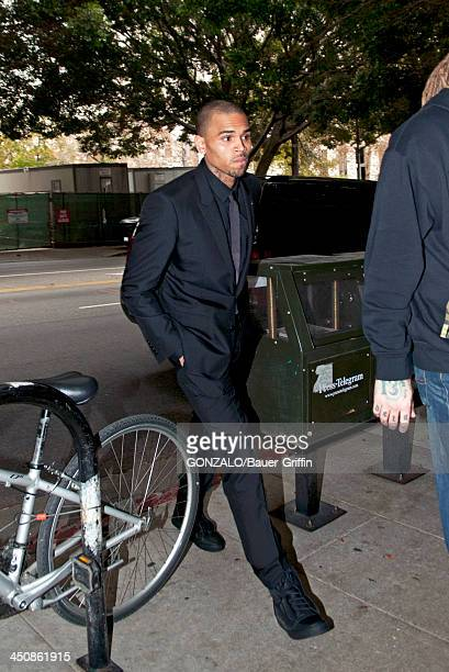 Chris Brown is seen arriving at the courthouse on November 20 2013 in Los Angeles California