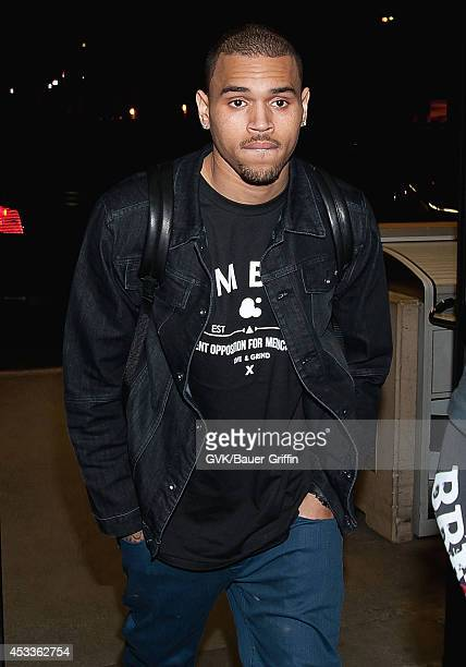 Chris Brown is seen at Los Angeles International Airport on February 14 2012 in Los Angeles California
