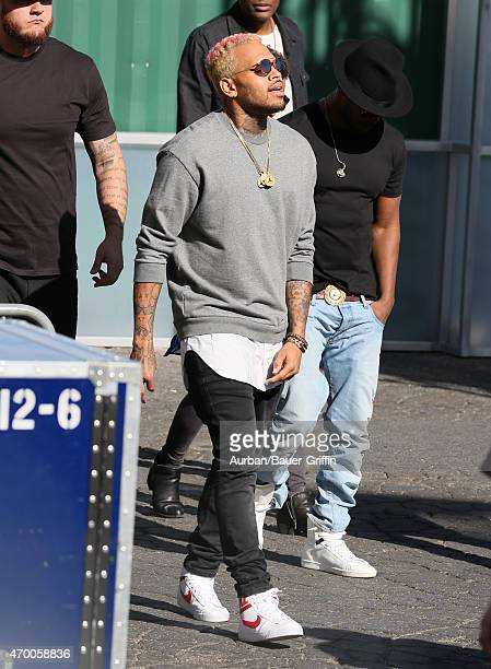 Chris Brown is seen in Hollywood on April 16 2015 in Los Angeles California