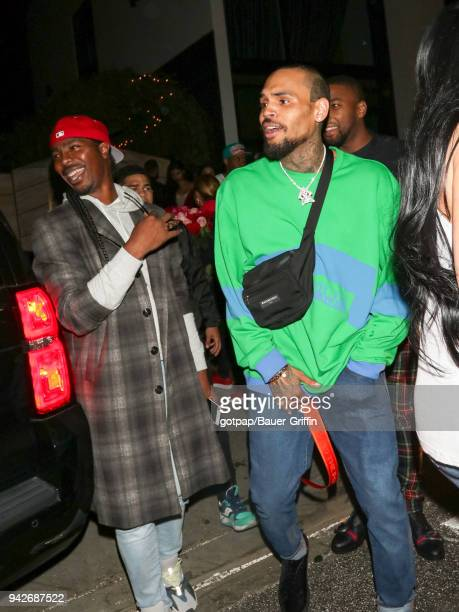Chris Brown is seen on April 06 2018 in Los Angeles California